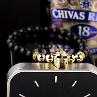 Fashion Men's Spartan Warrior Helmet Bracelets Lava Stone Beaded Bracelets Gifts