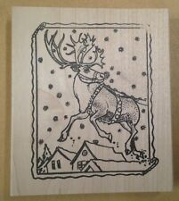 Mounted Rubber Stamps, Holiday, Christmas Stamps, Reindeer on Rooftop, Rudolph