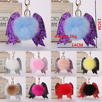 Cute Angel Devil Fur Ball PomPom Car Bag Keychain Pendant Handbag Lovely KeyRing