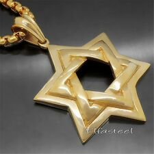 Large Men Gold Star of David Jewish Symbol 316L Stainless Steel Pendant