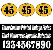 SET OF 3 YELLOW DG RACER VINTAGE MOTOCROSS CUSTOM PRINTED OVAL NUMBER PLATE