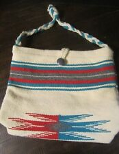 Wool Chimayo Purse Bag rare vintage cream teal gray red button close authentic