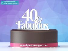 """40 & fabulous"" White - 40th Birthday Cake Topper - Made by OriginalCakeToppers"