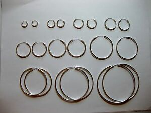 .925 SOLID STERLING SILVER PLAIN 2.25MM THICK ROUND ENDLESS HOOP EARRING 12-70MM