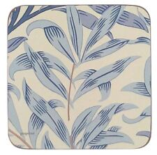 MORRIS & CO WILLOW BOUGHS BLUE SET OF 6 CORK BACKED COASTERS 10.5 X 10.5 X .6CM