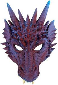 Dragon Fancy Dress Mask Fantasy Latex Halloween Adult Mens Costume Cosplay Larp