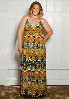Plus Size Maxi Dress Empire Waist Sleeveless Polyester Blend 4X-6X SWAK Multi