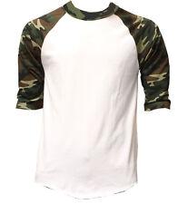 New 3/4 Sleeve Camo Raglan Baseball Mens Army Camouflage Sports T-Shirt S-3XL