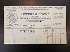 Lewers & Cooke Ltd. Lumber & Building Materials Vignette Letterhead Invoice 1920