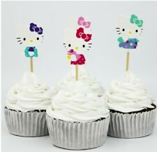 12Pcs Hello Kitty Cupcake Pick/ Flag Toppers Birthday Wedding Party Cake