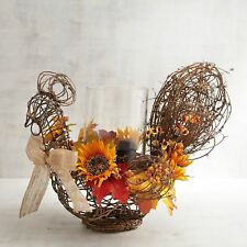 """NWT PIER 1 FLORAL CHICKEN HURRICANE CANDLE  TABLE CENTERPIECE 18""""W 14"""" H"""