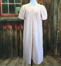 Celestial Dreams Pink Embroidered Front Zipper House Dress Robe Womans Small