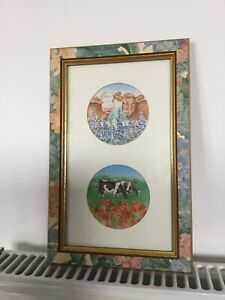 A Galerie Pretty Floral Framed Cow Picture - Wall Hanging