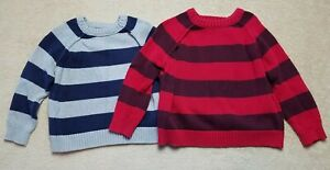 Cherokee Boys XS 4/5 Striped Knit Sweater Lot Of 2 Red Blue Gray