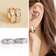 Crystal Men's 2Pcs Stainless Steel Women Rhinestone Huggie Hoop Studs Earrings