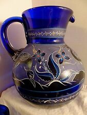 Stunning LARGE HAND-PAINTED ~Shore Birds~  COBALT BLUE GLASS PITCHER~5 Tumblers