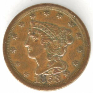 1853 Braided Hair Half Cent US Copper Penny Coin Philadelphia United States