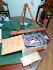 "Vintage 2 1/2 Pounds Of Good Used Artist Chalk And 20"" Wood Easel"