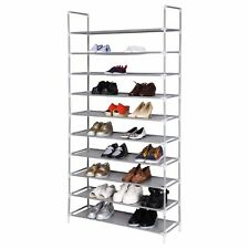 50 Pair 10 Tier Space Saving Storage Organizer Shoes Tower Rack Free Standing