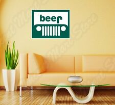 "Beer Jeep Wrangler Cherokee Funny Wall Sticker Room Interior Decor 25""X20"""