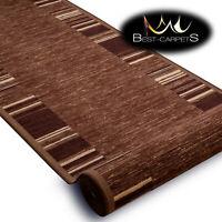 Modern HALL Runner Rugs 'ADAGIO' brown NON-slip Stairs Width 57-133cm extra long