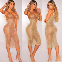 Womens Bandage V-Neck Gauze See-through Sheer Bodycon Evening Slim Dress UK