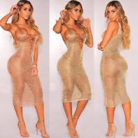 Womens Bandage V-Neck Gauze See-through Sheer Bodycon Evening Slim Dress UK