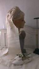 Great,antique victorian French wedding bonnet ,marrial bonnet ,lace,tule ribbons