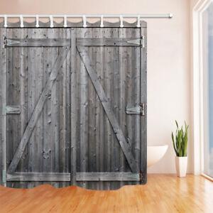 Gray barn wood door Waterproof Polyester Shower Curtain 12 Plastic Hooks 71 inch