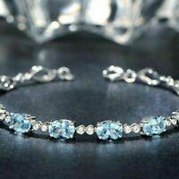 Gorgeous Blue Aquamarine Bracelet Women Wedding Engagement Jewelry Free Ship