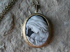VIRGIN MARY AND BABY JESUS CAMEO LOCKET - HAND PAINTED - RELIGIOUS-  BRONZE