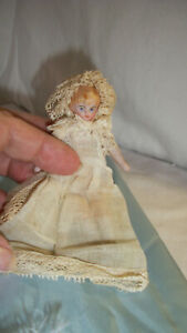 "BEAUTIFUL SMALL 4 1/4"" GERMAN BISQUE DOLLHOUSE  DOLL ALL ORIGINAL BABY OR BRIDE"