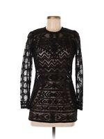 2013 ISABEL MARANT x H&M Black Tribal Print Mesh Burn Out Lace Top US 4 MINT!