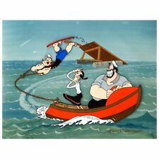 """Popey animation cel signed by Myron Walman: """"Popeye Jumps for Olive"""""""
