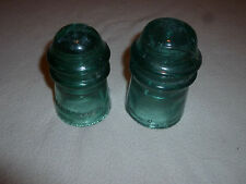 VINTAGE GLASS INSULATOR LOT SET HEMINGRAY AM TEL & TEL CO CLEAR AQUA BLUE