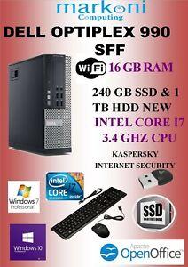 DELL OPTIPLEX 990 INTEL I7 ,16 GB RAM,1TB SATA & 240 GB SSD NEW,WIN 10 PRO, WIFI