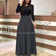 UK Womens Bodycon Floral Maxi Dress Ladie Evening Polkadot Long Dress Size 6-18
