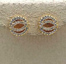 18K Gold Filled Earrings Cat Eyes Zircon Topaz Gemstone Circle Delicacy Stud DS