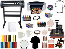 "8in1 Combo Heat Press 28"" 24"" Laser Vinyl Cutter Plotter Printer Dye Sublimation"