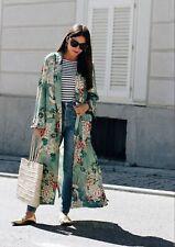 Ladies Green Satin Floral Kimono Long Jacket. Size M - L