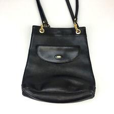 Vintage BALLY Switzerland Bucket Bag Black Leather Top Handle Handbag Purse