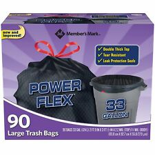 90 Large 33 Gallon Power-Guard Trash Bags Garbage Can Liners Flex Super Tough