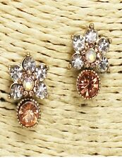 Antique Gold Rose Gold and AB Floral Crystal Earrings