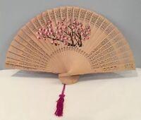 "RARE VTG 14"" Hand Painted Pierced Asian Wood Hand Fan With Fuchsia Tassel"