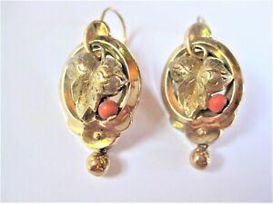 Biedermeier Ohrringe Gold 585 mit Koralle,