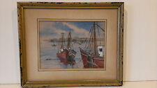 S. SAVINO SIGNED WATERCOLOR PAINTING BOATS SEASCAPE ~ FRAMED