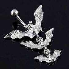 14G Gothic Triple Bats Flying Belly Navel Ring Bar Dangle Silver Color JW468 MA