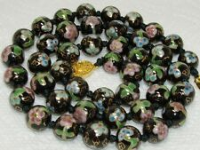 Chinese Export Cloisonne Necklace Black Floral Bead Necklace~Fancy Clasp 26""