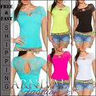 SEXY WOMENS SHORT SLEEVE TOP XS S M L XL LADIES LACY T SHIRT BLOUSE FLORAL HOT
