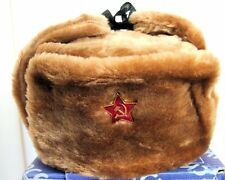 Authentic Russian Military Camel Brown KGB Ushanka Hat W/ Soviet Red Star Badge